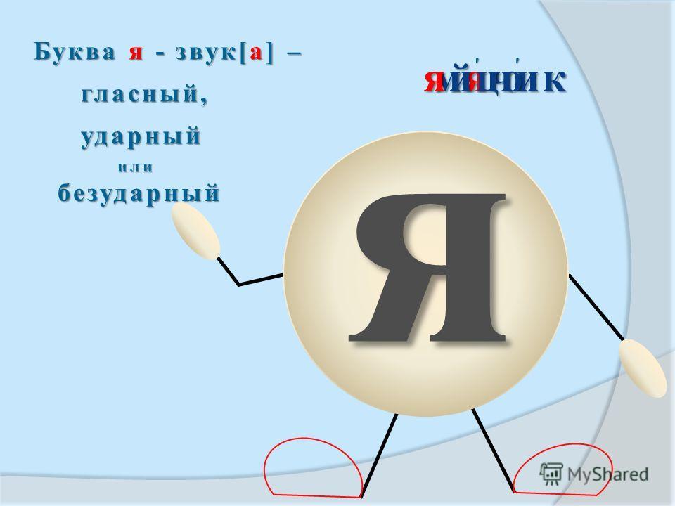 я ' мячик Буква я - звук[а] – гласный, ударный или безударный безударный яйцо '