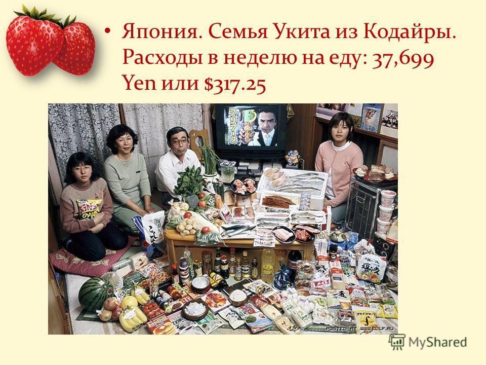 Япония. Семья Укита из Кодайры. Расходы в неделю на еду: 37,699 Yen или $317.25