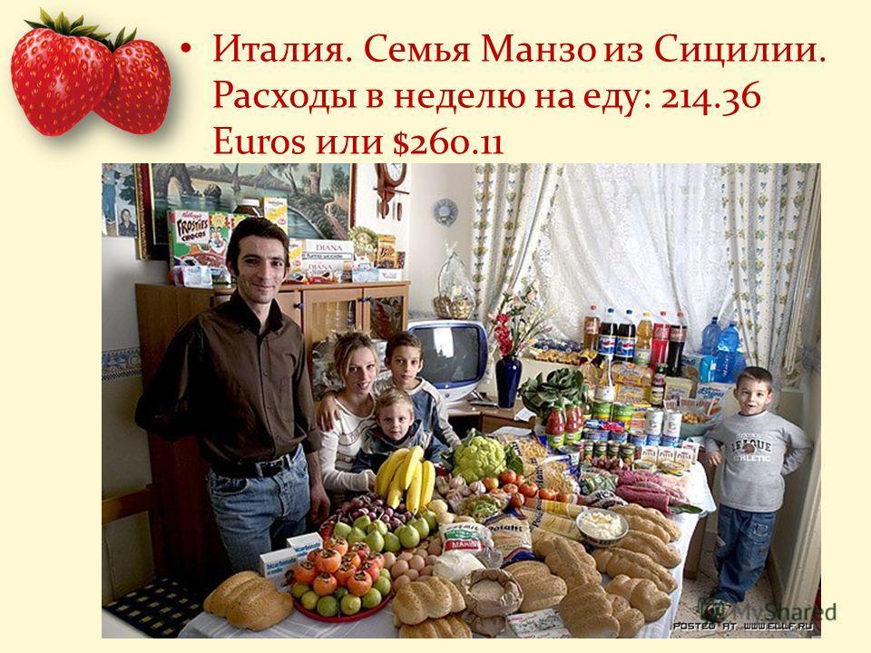 Италия. Семья Манзо из Сицилии. Расходы в неделю на еду: 214.36 Euros или $260.11