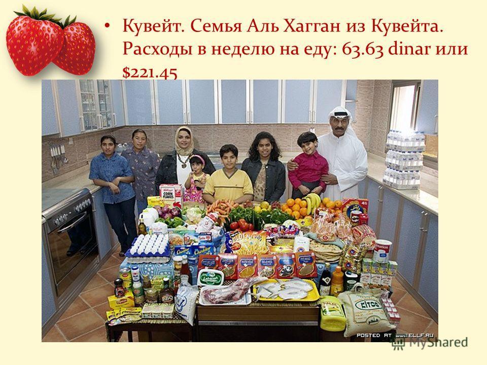 Кувейт. Семья Аль Хагган из Кувейта. Расходы в неделю на еду: 63.63 dinar или $221.45