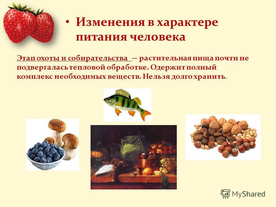 Изменения в характере питания человека Этап охоты и собирательства -- растительная пища почти не подвергалась тепловой обработке. Одержит полный комплекс необходимых веществ. Нельзя долго хранить.