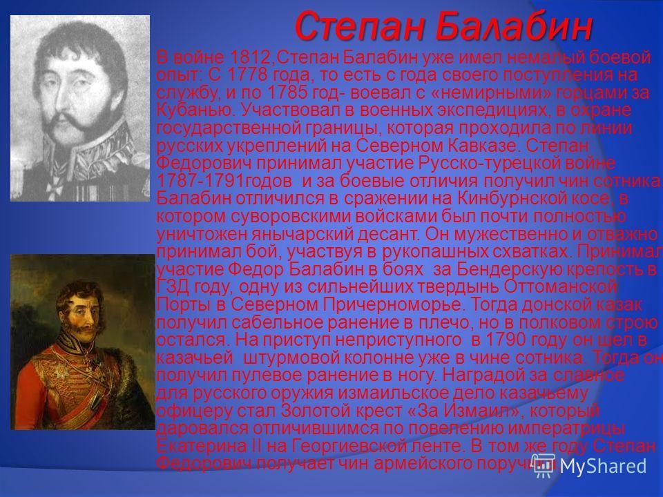 Степан Балабин В войне 1812,Степан Балабин уже имел немалый боевой опыт: С 1778 года, то есть с года своего поступления на службу, и по 1785 год- воевал с «немирными» горцами за Кубанью. Участвовал в военных экспедициях, в охране государственной гран