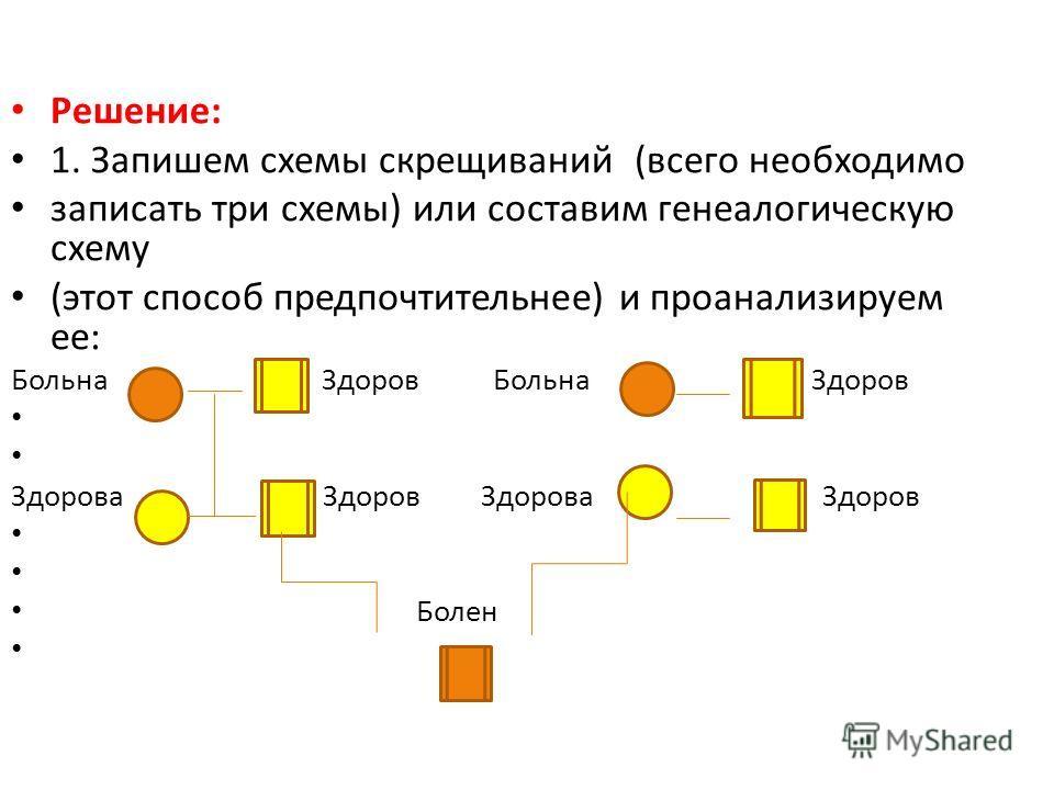 Решение: 1. Запишем схемы скрещиваний (всего необходимо записать три схемы) или составим генеалогическую схему (этот способ предпочтительнее) и проанализируем ее: Больна Здоров Здорова Здоров Болен