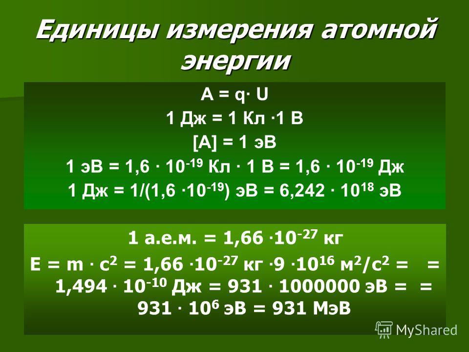 Единицы измерения атомной энергии А = q· U 1 Дж = 1 Кл ·1 В [A] = 1 эВ 1 эВ = 1,6 · 10 -19 Кл · 1 В = 1,6 · 10 -19 Дж 1 Дж = 1/(1,6 ·10 -19 ) эВ = 6,242 · 10 18 эВ 1 а.е.м. = 1,66 · 10 -27 кг Е = m · c 2 = 1,66 · 10 -27 кг · 9 · 10 16 м 2 /с 2 = = 1,