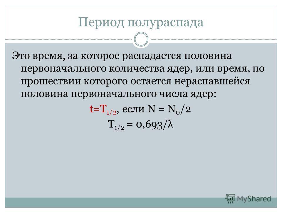 Период полураспада Это время, за которое распадается половина первоначального количества ядер, или время, по прошествии которого остается нераспавшейся половина первоначального числа ядер: t=T 1/2, если Ν = Ν 0 /2 T 1/2 = 0,693/λ