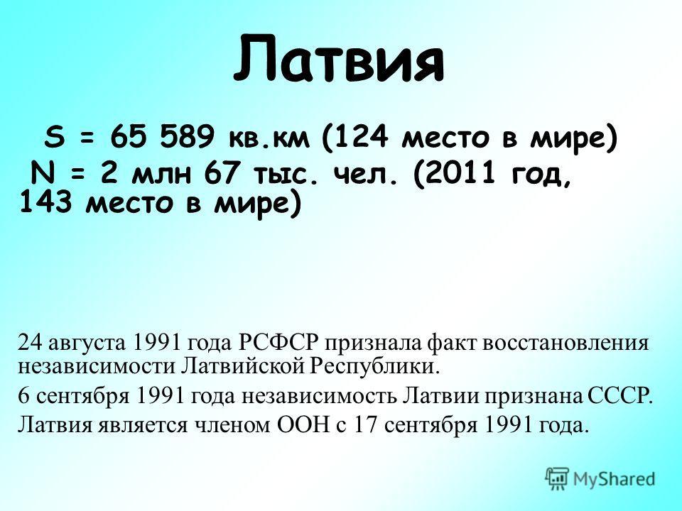 Латвия S = 65 589 кв.км (124 место в мире) N = 2 млн 67 тыс. чел. (2011 год, 143 место в мире) 24 августа 1991 года РСФСР признала факт восстановления независимости Латвийской Республики. 6 сентября 1991 года независимость Латвии признана СССР. Латви