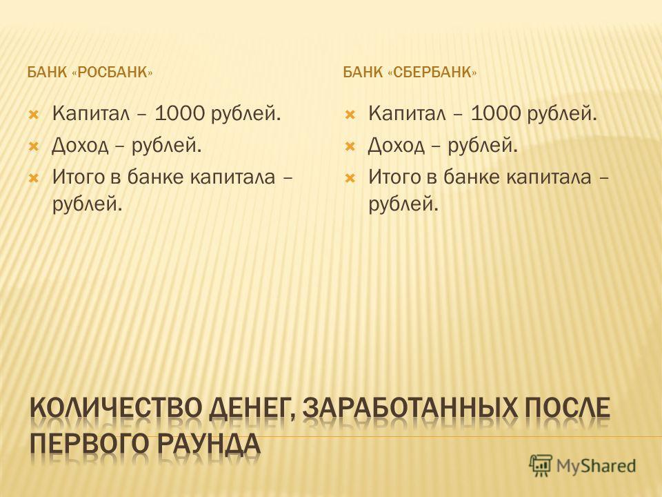 БАНК «РОСБАНК»БАНК «СБЕРБАНК» Капитал – 1000 рублей. Доход – рублей. Итого в банке капитала – рублей. Капитал – 1000 рублей. Доход – рублей. Итого в банке капитала – рублей.