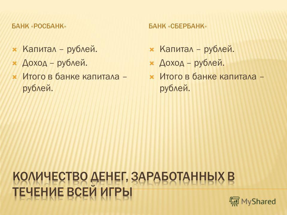 БАНК «РОСБАНК»БАНК «СБЕРБАНК» Капитал – рублей. Доход – рублей. Итого в банке капитала – рублей. Капитал – рублей. Доход – рублей. Итого в банке капитала – рублей.