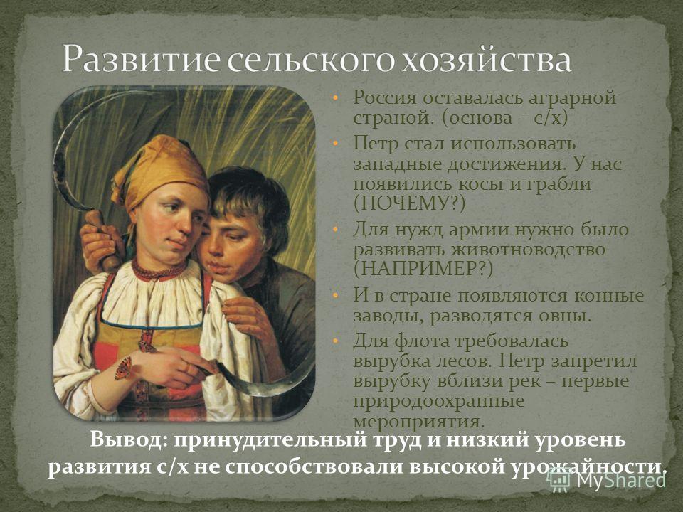 Россия оставалась аграрной страной. (основа – с/х) Петр стал использовать западные достижения. У нас появились косы и грабли (ПОЧЕМУ?) Для нужд армии нужно было развивать животноводство (НАПРИМЕР?) И в стране появляются конные заводы, разводятся овцы