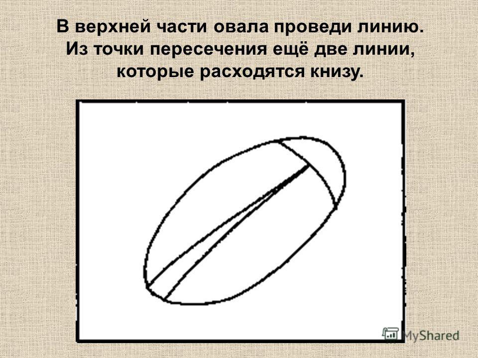 В верхней части овала проведи линию. Из точки пересечения ещё две линии, которые расходятся книзу.