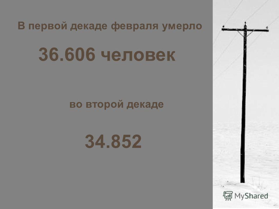 В первой декаде февраля умерло 36.606 человек во второй декаде 34.852