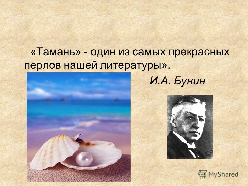 «Тамань» - один из самых прекрасных перлов нашей литературы». И.А. Бунин