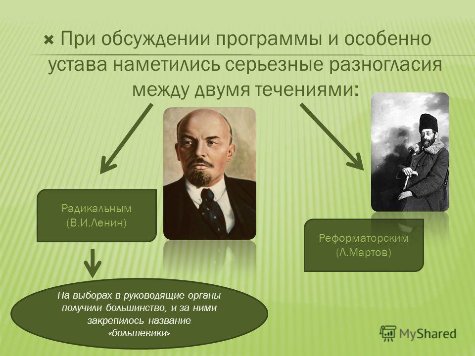 При обсуждении программы и особенно устава наметились серьезные разногласия между двумя течениями: Реформаторским (Л.Мартов) Радикальным (В.И.Ленин) На выборах в руководящие органы получили большинство, и за ними закрепилось название «большевики»