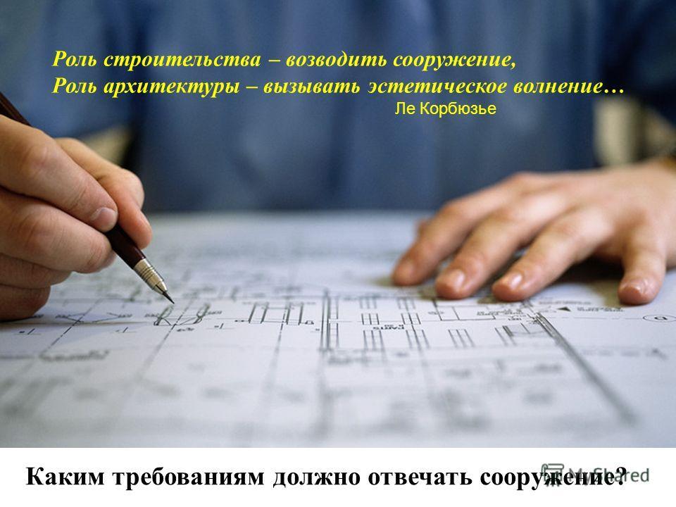 Каким требованиям должно отвечать сооружение? Роль строительства – возводить сооружение, Роль архитектуры – вызывать эстетическое волнение… Ле Корбюзье
