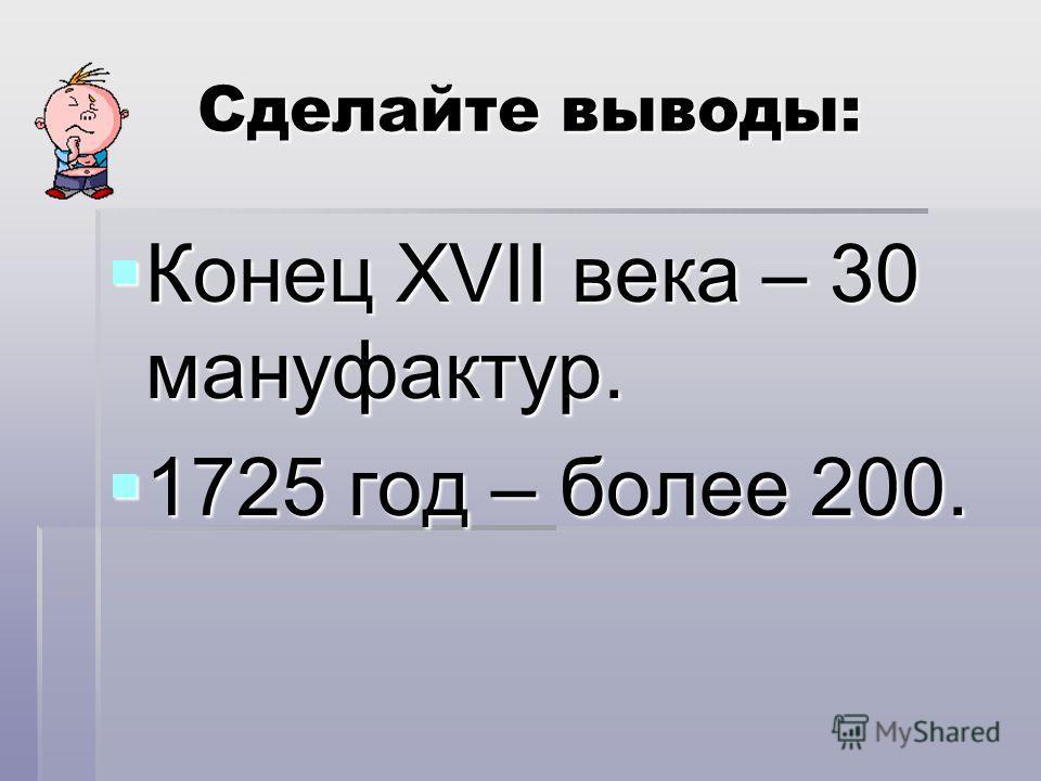 Сделайте выводы: Конец XVII века – 30 мануфактур. Конец XVII века – 30 мануфактур. 1725 год – более 200. 1725 год – более 200.