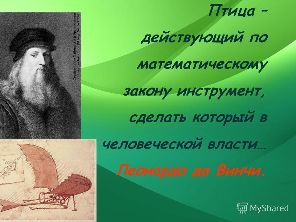 Птица – действующий по математическому закону инструмент, сделать который в человеческой власти… Леонардо да Винчи.