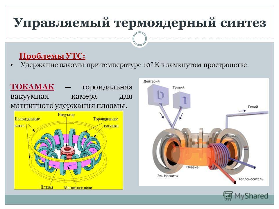 Управляемый термоядерный синтез Проблемы УТС: Удержание плазмы при температуре 10 7 К в замкнутом пространстве. ТОКАМАК тороидальная вакуумная камера для магнитного удержания плазмы.