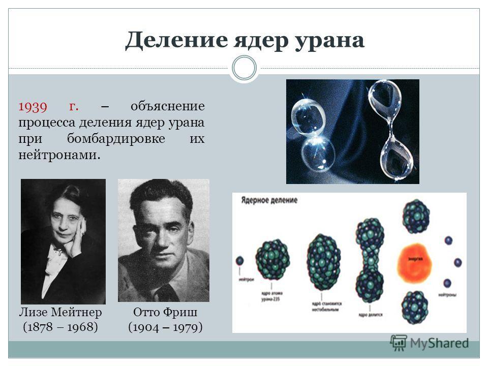 Деление ядер урана Лизе Мейтнер (1878 – 1968) Отто Фриш (1904 – 1979) 1939 г. – объяснение процесса деления ядер урана при бомбардировке их нейтронами.