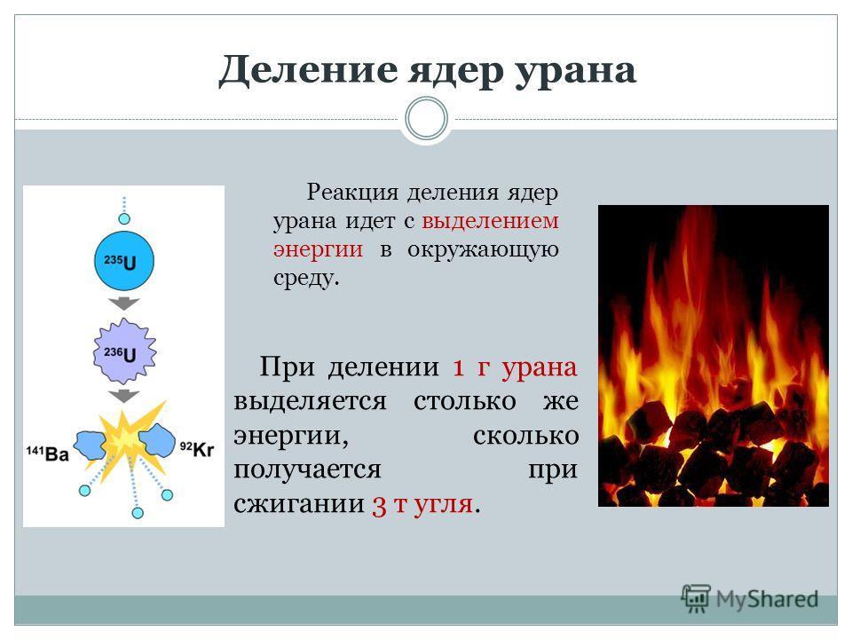 Деление ядер урана Реакция деления ядер урана идет с выделением энергии в окружающую среду. При делении 1 г урана выделяется столько же энергии, сколько получается при сжигании 3 т угля.