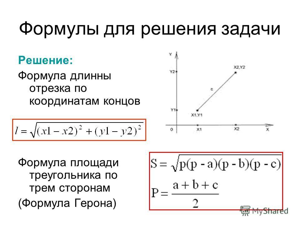 Формулы для решения задачи Решение: Формула длинны отрезка по координатам концов Формула площади треугольника по трем сторонам (Формула Герона)