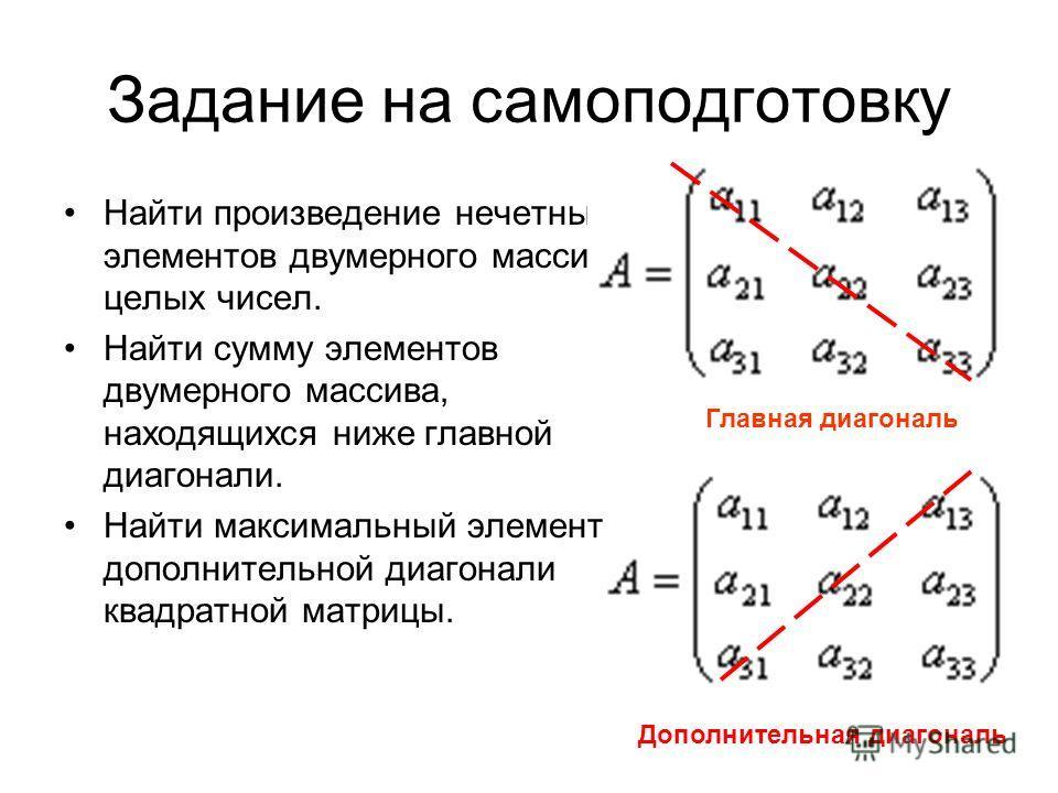 Задание на самоподготовку Найти произведение нечетных элементов двумерного массива целых чисел. Найти сумму элементов двумерного массива, находящихся ниже главной диагонали. Найти максимальный элемент дополнительной диагонали квадратной матрицы. Допо