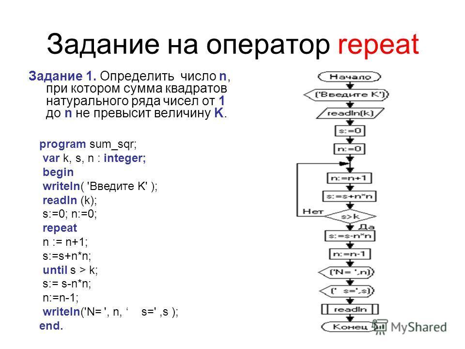 Задание на оператор repeat Задание 1. Определить число n, при котором сумма квадратов натурального ряда чисел от 1 до n не превысит величину K. program sum_sqr; var k, s, n : integer; begin writeln( 'Введите K' ); readln (k); s:=0; n:=0; repeat n :=