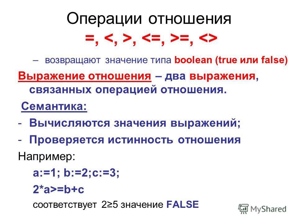 Операции отношения =,, =,  – возвращают значение типа boolean (true или false) Выражение отношения – два выражения, связанных операцией отношения. Семантика: -Вычисляются значения выражений; -Проверяется истинность отношения Например: a:=1; b:=2;c:=3
