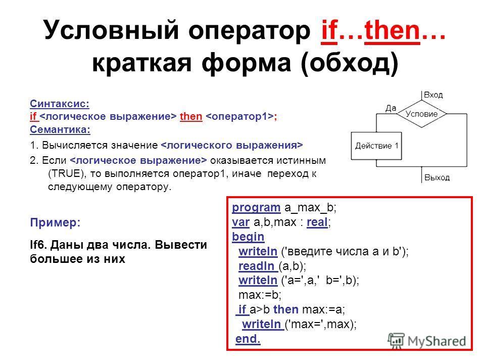 Условный оператор if…then… краткая форма (обход) Синтаксис: if then ; Семантика: 1. Вычисляется значение 2. Если оказывается истинным (TRUE), то выполняется оператор1, иначе переход к следующему оператору. Пример: If6. Даны два числа. Вывести большее
