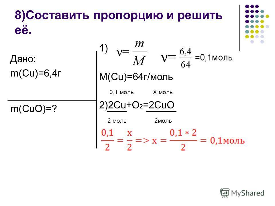 8)Составить пропорцию и решить её. Дано: m(Cu)=6,4г m(CuO)=? 1) M(Cu)=64г/моль 0,1 моль Х моль 2)2Cu+O 2 =2CuO 2 моль 2моль