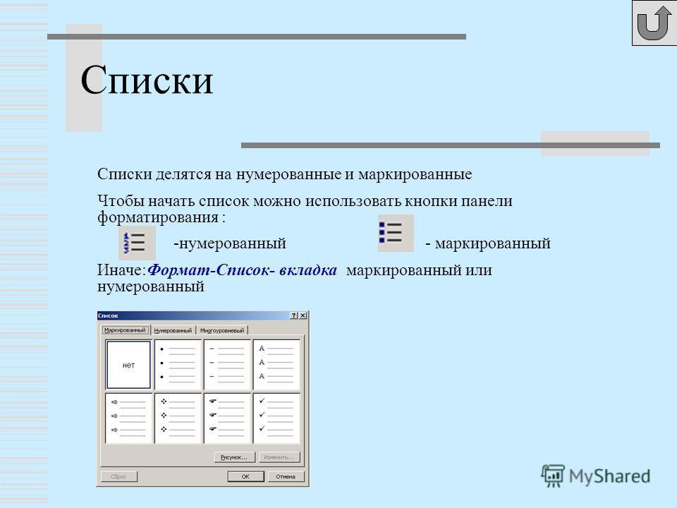 Списки Списки делятся на нумерованные и маркированные Чтобы начать список можно использовать кнопки панели форматирования : -нумерованный - маркированный Иначе:Формат-Список- вкладка маркированный или нумерованный