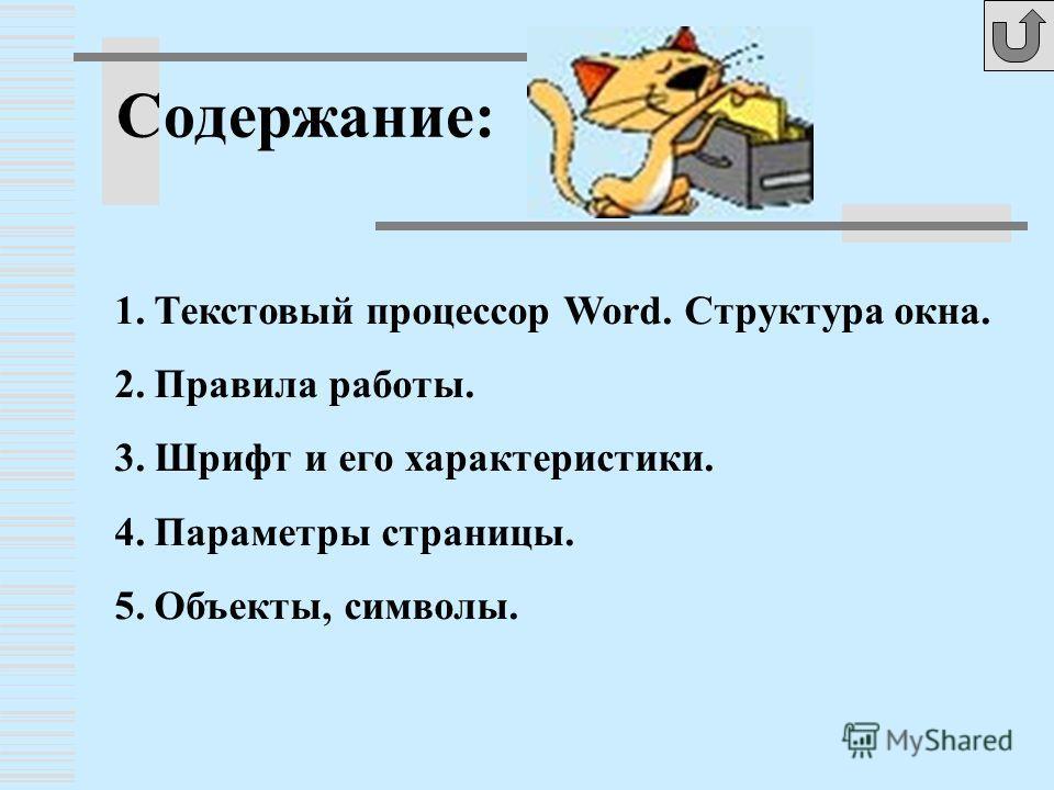 Содержание: 1.Текстовый процессор Word. Структура окна. 2.Правила работы. 3.Шрифт и его характеристики. 4.Параметры страницы. 5.Объекты, символы.