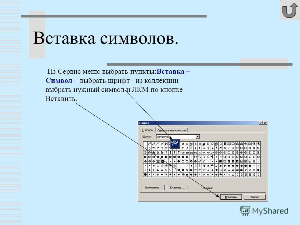 Из Сервис меню выбрать пункты:Вставка – Символ – выбрать шрифт - из коллекции выбрать нужный символ и ЛКМ по кнопке Вставить. Вставка символов.