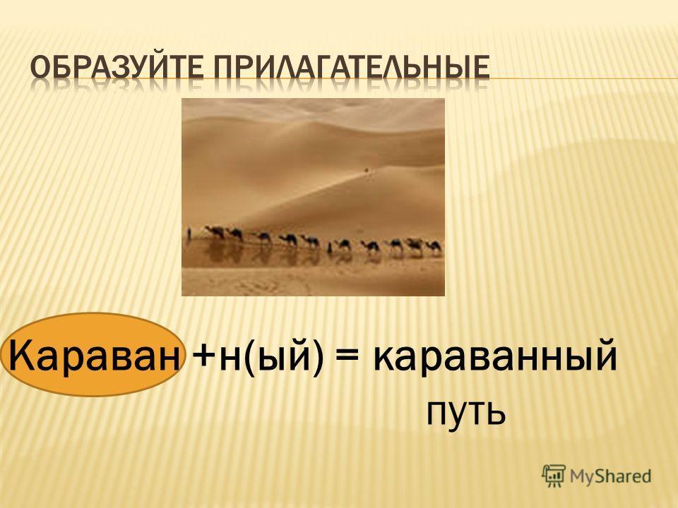 Караван +н(ый) = караванный путь