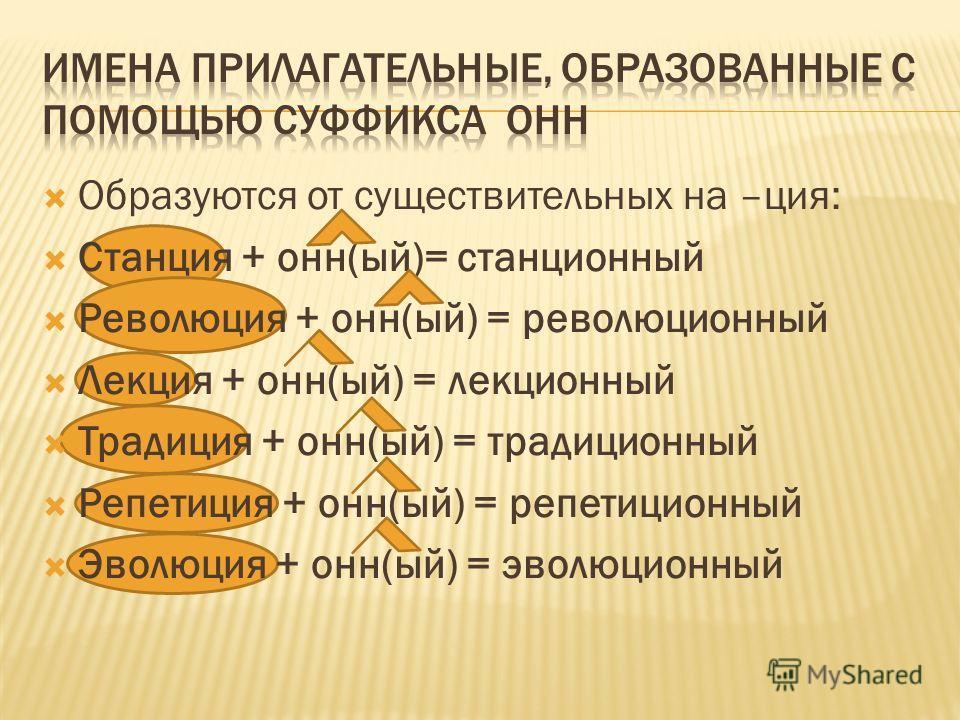 Образуются от существительных на –ция: Станция + онн(ый)= станционный Революция + онн(ый) = революционный Лекция + онн(ый) = лекционный Традиция + онн(ый) = традиционный Репетиция + онн(ый) = репетиционный Эволюция + онн(ый) = эволюционный
