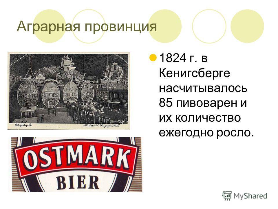 Аграрная провинция 1824 г. в Кенигсберге насчитывалось 85 пивоварен и их количество ежегодно росло.