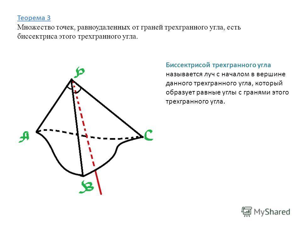 Теорема 3 Множество точек, равноудаленных от граней трехгранного угла, есть биссектриса этого трехгранного угла. Биссектрисой трехгранного угла называется луч с началом в вершине данного трехгранного угла, который образует равные углы с гранями этого