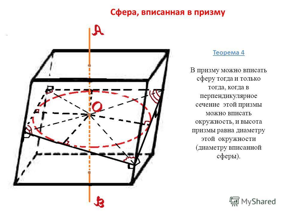 Сфера, вписанная в призму Теорема 4 В призму можно вписать сферу тогда и только тогда, когда в перпендикулярное сечение этой призмы можно вписать окружность, и высота призмы равна диаметру этой окружности (диаметру вписанной сферы).