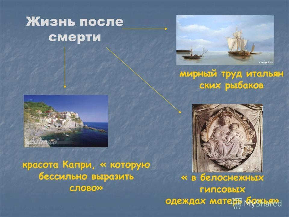 Жизнь после смерти « в белоснежных гипсовых одеждах матерь божья» красота Капри, « которую бессильно выразить слово» мирный труд итальян ских рыбаков
