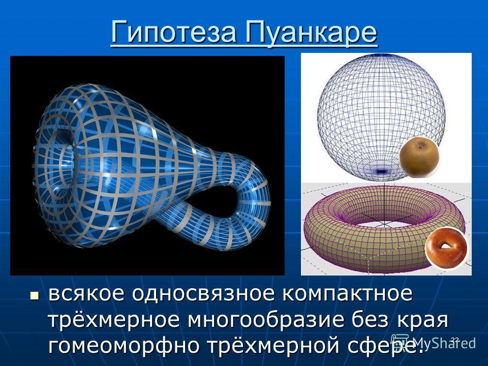 Гипотеза Пуанкаре 22 всякое односвязное компактное трёхмерное многообразие без края гомеоморфно трёхмерной сфере. всякое односвязное компактное трёхмерное многообразие без края гомеоморфно трёхмерной сфере.