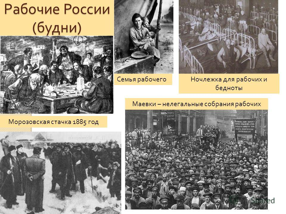 Рабочие России ( будни ) Морозовская стачка 1885 год Семья рабочегоНочлежка для рабочих и бедноты Маевки – нелегальные собрания рабочих