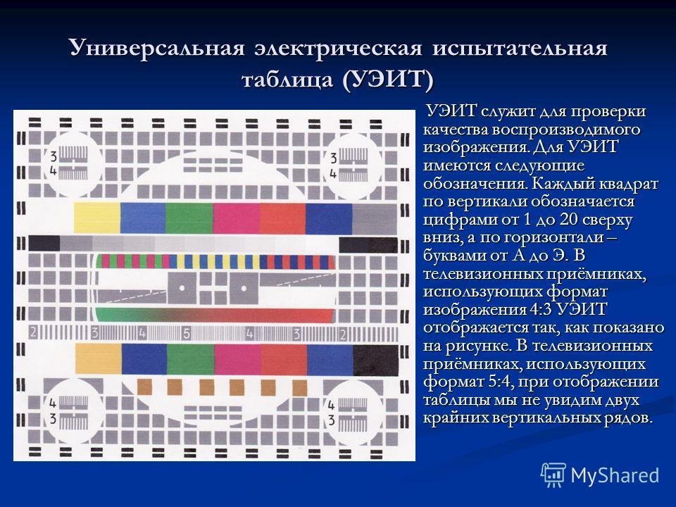 Универсальная электрическая испытательная таблица (УЭИТ) УЭИТ служит для проверки качества воспроизводимого изображения. Для УЭИТ имеются следующие обозначения. Каждый квадрат по вертикали обозначается цифрами от 1 до 20 сверху вниз, а по горизонтали
