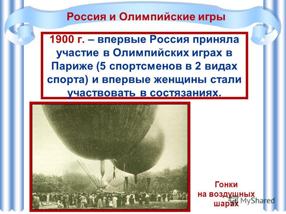 1900 г. – впервые Россия приняла участие в Олимпийских играх в Париже (5 спортсменов в 2 видах спорта) и впервые женщины стали участвовать в состязаниях. Россия и Олимпийские игры Гонки на воздушных шарах