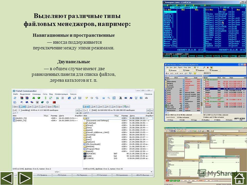 Выделяют различные типы файловых менеджеров, например: Навигационные и пространственные иногда поддерживается переключение между этими режимами. Двупанельные в общем случае имеют две равноценных панели для списка файлов, дерева каталогов и т. п.