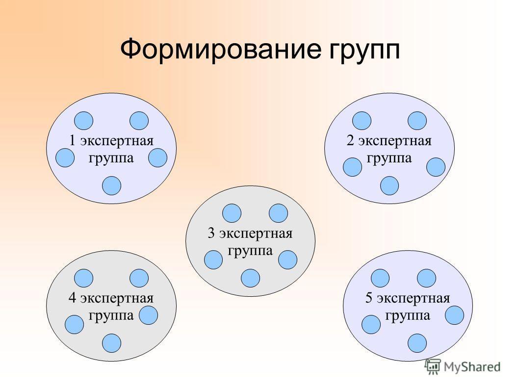 Формирование групп 1 экспертная группа 2 экспертная группа 3 экспертная группа 4 экспертная группа 5 экспертная группа