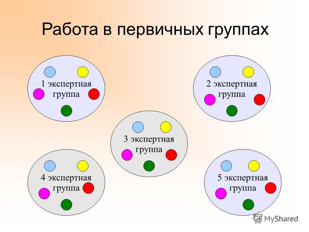 Работа в первичных группах 1 экспертная группа 2 экспертная группа 3 экспертная группа 4 экспертная группа 5 экспертная группа