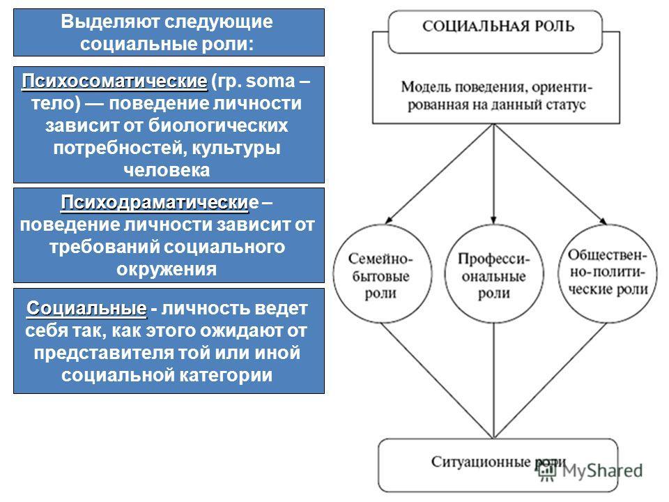 Выделяют следующие социальные роли: Психосоматические Психосоматические (гр. soma – тело) поведение личности зависит от биологических потребностей, культуры человека Психодраматически Психодраматические – поведение личности зависит от требований соци