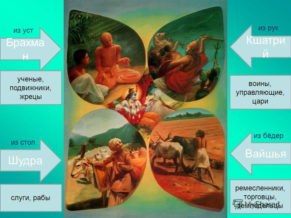 Брахма н Шудра Кшатри й Вайшья ученые, подвижники, жрецы слуги, рабы ремесленники, торговцы, земледельцы воины, управляющие, цари из уст из рук из бёдер из стоп