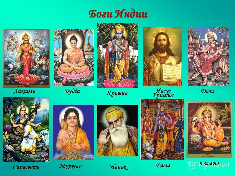 Боги Индии Рама Ганеша Сарасвати Лакшми Нанак БуддаИисус Христос Деви Кришна Муруган