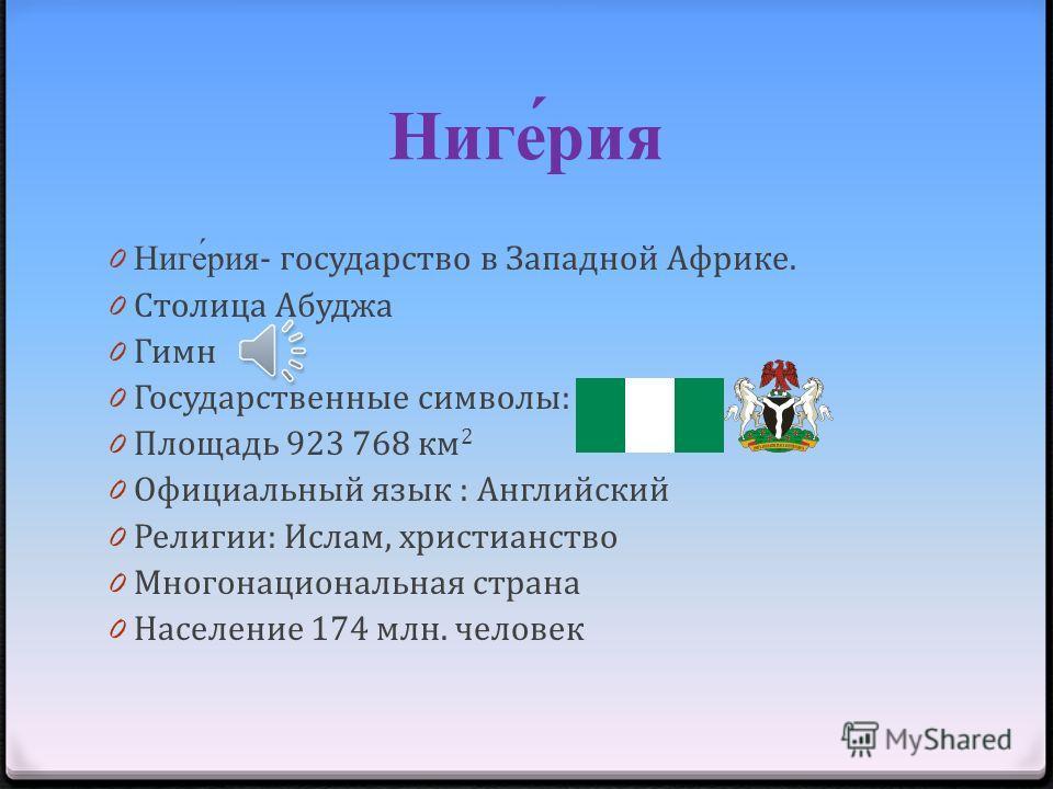 Нигерия Выполнил ученик 7Б класса Бурдзиев Арсен Учитель : Фатима Муратовна