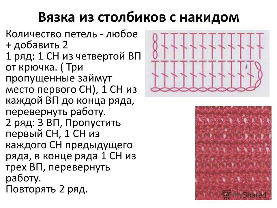 Вязка из столбиков с накидом Количество петель - любое + добавить 2 1 ряд: 1 СН из четвертой ВП от крючка. ( Три пропущенные займут место первого СН), 1 СН из каждой ВП до конца ряда, перевернуть работу. 2 ряд: 3 ВП, Пропустить первый СН, 1 СН из каж